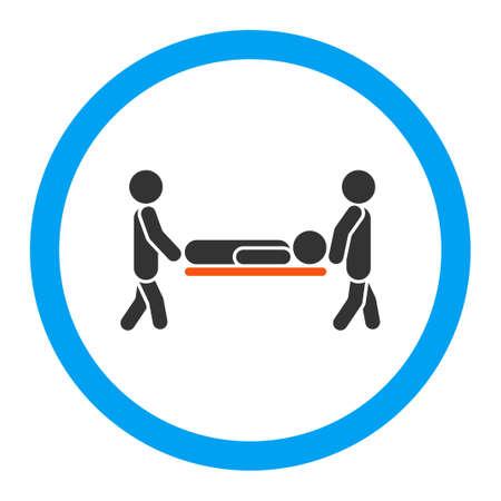 paciente en camilla: Paciente icono glifo Camilla. El estilo es el símbolo plana redondeada, colores brillantes, ángulos redondeados, fondo blanco. Foto de archivo