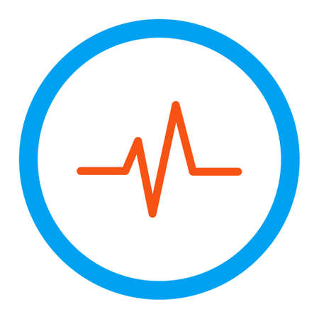 electrocardiograph: Pulse glyph icon. Style is flat rounded symbol, bright colors, rounded angles, white background. Stock Photo