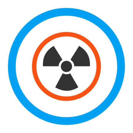 uranium: Radiation Danger glyph icon. Style is flat rounded symbol, bright colors, rounded angles, white background.