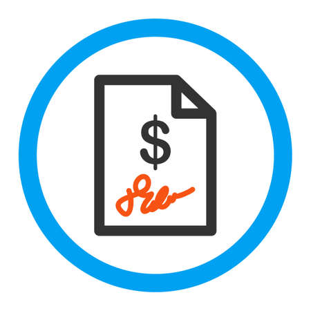 signed: Signed Invoice glyph icon. Style is flat rounded symbol, bright colors, rounded angles, white background. Stock Photo