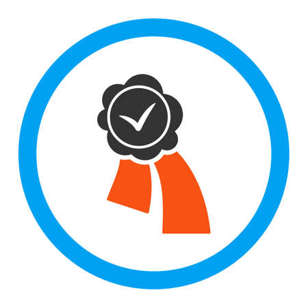 validation: Validation Seal glyph icon. Style is flat rounded symbol, bright colors, rounded angles, white background.