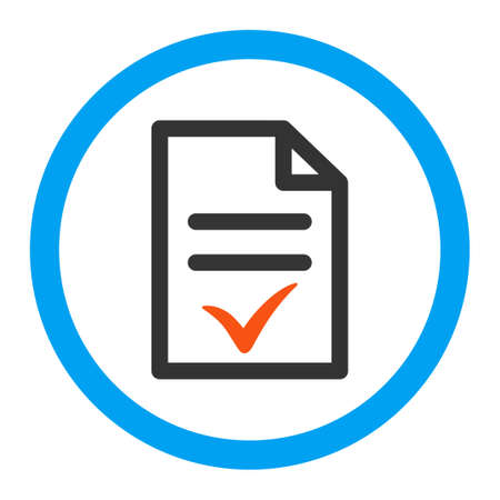 valid: Valid Document glyph icon. Style is flat rounded symbol, bright colors, rounded angles, white background. Stock Photo