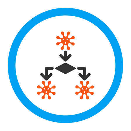 reproduction: Virus Reproduction glyph icon. Style is flat rounded symbol, bright colors, rounded angles, white background. Stock Photo