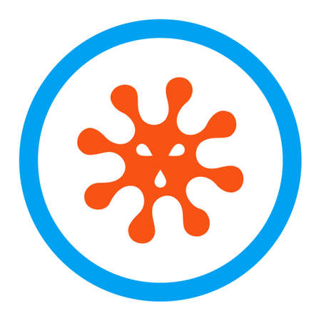 goad: Virus glyph icon. Style is flat rounded symbol, bright colors, rounded angles, white background.