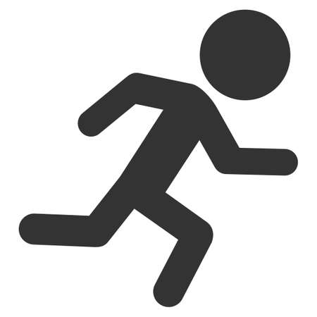 log out: Running Child vector icon. Style is flat symbol, rounded angles, white background. Illustration