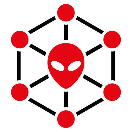 roswell: Alien Network raster icon. Style is flat symbol, rounded angles, white background. Stock Photo