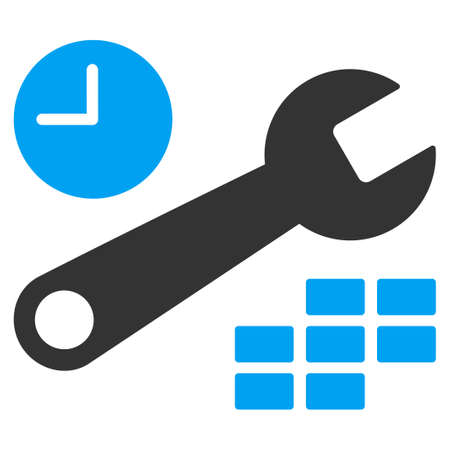 configuration: Date And Time Configuration raster icon. Style is bicolor flat symbol, blue and gray colors, rounded angles, white background.