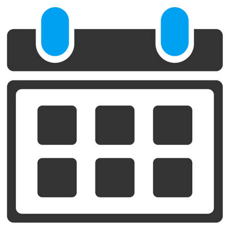 syllabus: Calendar raster icon. Style is bicolor flat symbol, blue and gray colors, rounded angles, white background.