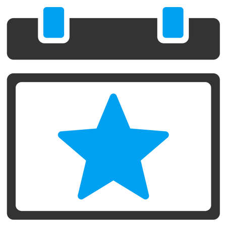 favourites: Favourites Day raster icon. Style is bicolor flat symbol, blue and gray colors, rounded angles, white background.
