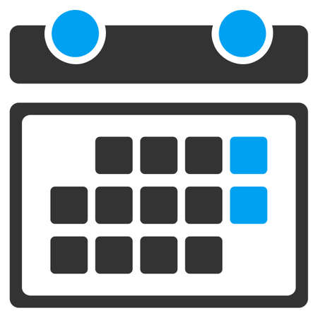 syllabus: Month Calendar raster icon. Style is bicolor flat symbol, blue and gray colors, rounded angles, white background.