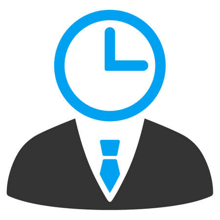 temporary workers: Time Manager raster icon. Style is bicolor flat symbol, blue and gray colors, rounded angles, white background.