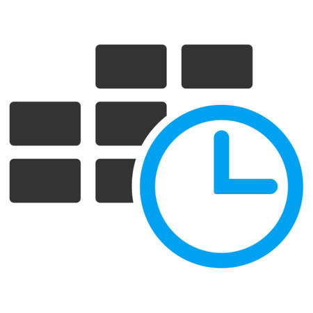 time table: Time Table raster icon. Style is bicolor flat symbol, blue and gray colors, rounded angles, white background.