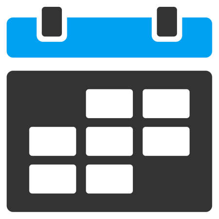 syllabus: Calendar vector icon. Style is bicolor flat symbol, blue and gray colors, rounded angles, white background.