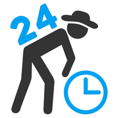 clock work: Around The Clock Work vector icon. Style is bicolor flat symbol, blue and gray colors, rounded angles, white background. Illustration