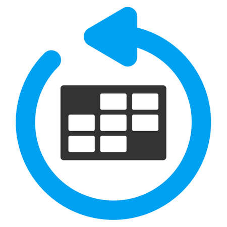 syllabus: Refresh Calendar vector icon. Style is bicolor flat symbol, blue and gray colors, rounded angles, white background. Illustration