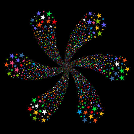 Fireworks Star Flower vector illustration. This New Year Pyrotechnic illustration is drawn with multi-colored flat bright stars on a black background. Illustration