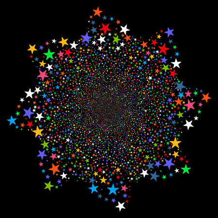 pyrotechnic: Fireworks Star Flower vector illustration. This New Year Pyrotechnic illustration is drawn with multi-colored flat bright stars on a black background. Illustration