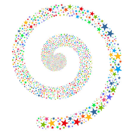 pyrotechnic: Fireworks Star Spiral vector illustration. This New Year Pyrotechnic illustration is drawn with multi-colored flat bright stars on a white background.