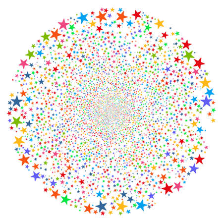 pyrotechnic: Fireworks Star Sphere glyph illustration. This New Year Pyrotechnic illustration is drawn with multi-colored flat bright stars on a white background. Stock Photo