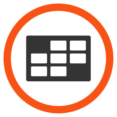 dataset: Binder Dataset glyph icon. Style is bicolor flat rounded symbol, orange and gray colors, rounded angles, white background.