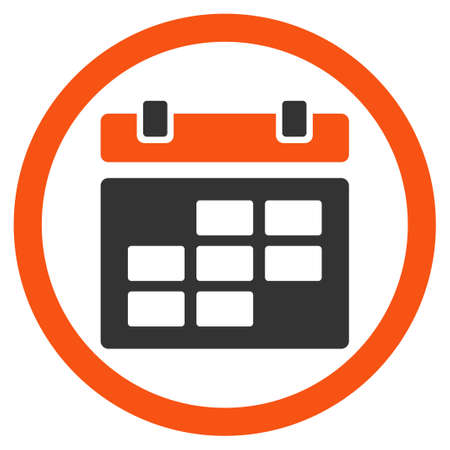 dataset: Syllabus glyph icon. Style is bicolor flat rounded symbol, orange and gray colors, rounded angles, white background. Stock Photo