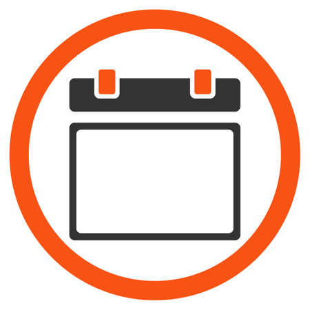 syllabus: Empty Syllabus Date glyph icon. Style is bicolor flat rounded symbol, orange and gray colors, rounded angles, white background.