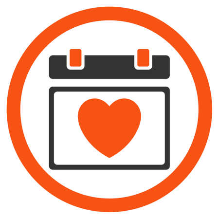 syllabus: Lovely Syllabus Date glyph icon. Style is bicolor flat rounded symbol, orange and gray colors, rounded angles, white background.