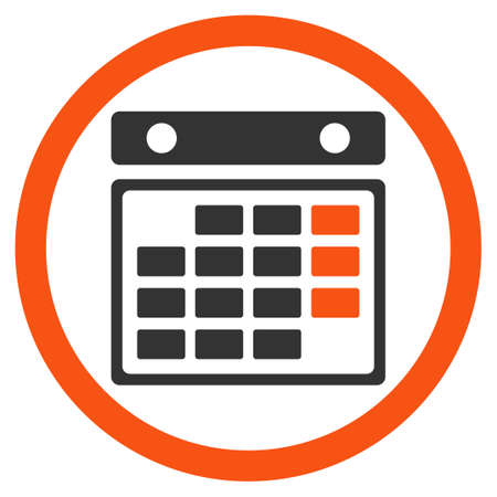 syllabus: Month Appointment glyph icon. Style is bicolor flat rounded symbol, orange and gray colors, rounded angles, white background.