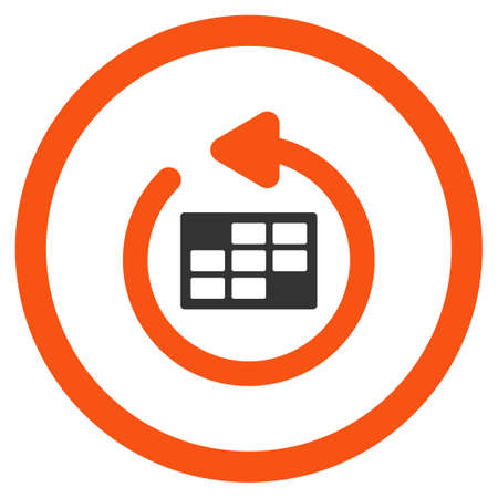 syllabus: Refresh Syllabus glyph icon. Style is bicolor flat rounded symbol, orange and gray colors, rounded angles, white background.