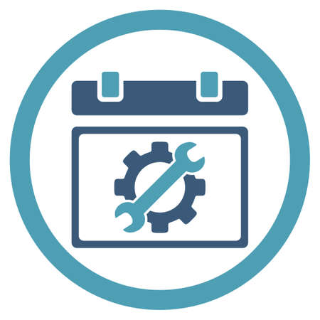 schedule system: Service Date vector icon. Style is bicolor flat rounded symbol, cyan and blue colors, rounded angles, white background. Illustration