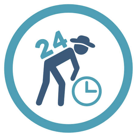 around the clock: Around The Clock Work vector icon. Style is bicolor flat rounded symbol, cyan and blue colors, rounded angles, white background. Illustration