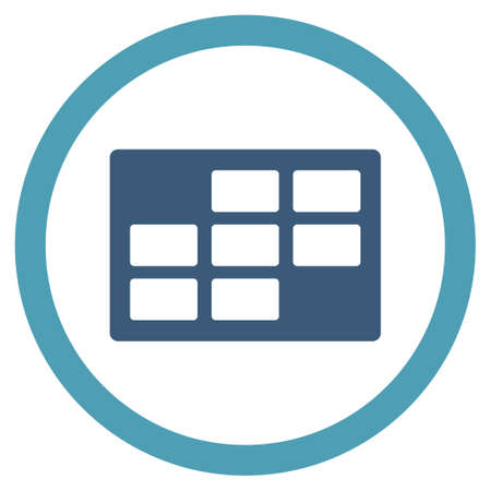 dataset: Appointment Table vector icon. Style is bicolor flat rounded symbol, cyan and blue colors, rounded angles, white background. Illustration
