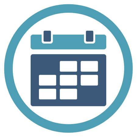 dataset: Calendar vector icon. Style is bicolor flat rounded symbol, cyan and blue colors, rounded angles, white background.