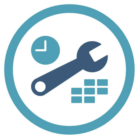 configuration: Date And Time Configuration vector icon. Style is bicolor flat rounded symbol, cyan and blue colors, rounded angles, white background.