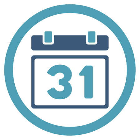 first form: Last Month Date vector icon. Style is bicolor flat rounded symbol, cyan and blue colors, rounded angles, white background. Illustration