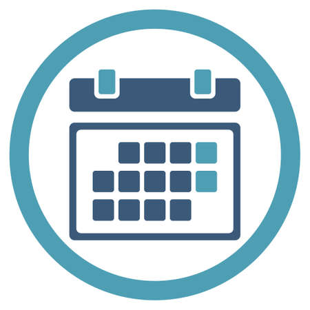 syllabus: Month Appointment vector icon. Style is bicolor flat rounded symbol, cyan and blue colors, rounded angles, white background.