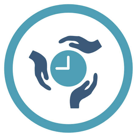 ico: Time Care vector icon. Style is bicolor flat rounded symbol, cyan and blue colors, rounded angles, white background. Illustration