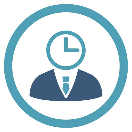 temporary workers: Time Manager vector icon. Style is bicolor flat rounded symbol, cyan and blue colors, rounded angles, white background.