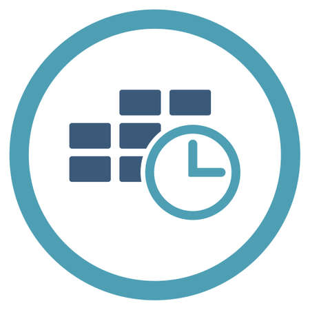 dataset: Time Dataset vector icon. Style is bicolor flat rounded symbol, cyan and blue colors, rounded angles, white background.