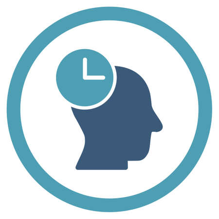 temporary employees: Time Thinking vector icon. Style is bicolor flat rounded symbol, cyan and blue colors, rounded angles, white background. Illustration