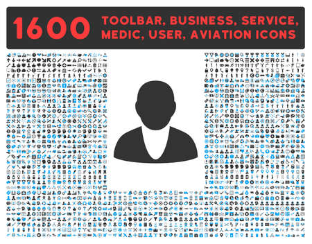 toolbar: Account raster icon and 1600 other business, service tools, medical care, software toolbar, web interface pictograms. Style is bicolor flat symbols, blue and gray colors, rounded angles, white background.