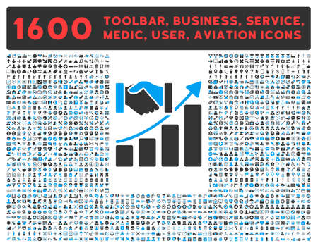 toolbar: Acquisition Growth raster icon and 1600 other business, service tools, medical care, software toolbar, web interface pictograms. Style is bicolor flat symbols, blue and gray colors, rounded angles, white background.