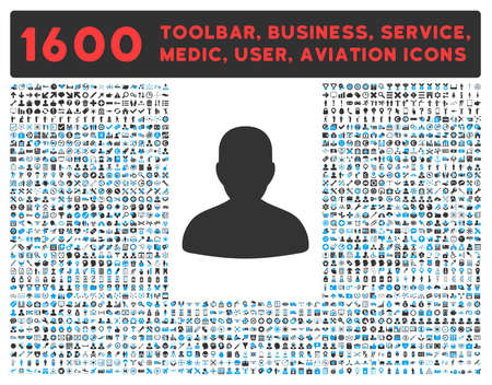 toolbar: Avatar raster icon and 1600 other business, service tools, medical care, software toolbar, web interface pictograms. Style is bicolor flat symbols, blue and gray colors, rounded angles, white background.