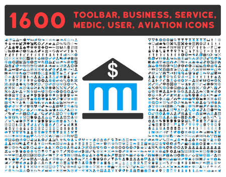 toolbar: Bank Building raster icon and 1600 other business, service tools, medical care, software toolbar, web interface pictograms. Style is bicolor flat symbols, blue and gray colors, rounded angles, white background. Stock Photo