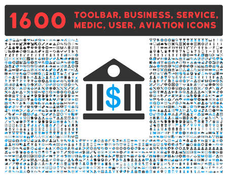 toolbar: Bank raster icon and 1600 other business, service tools, medical care, software toolbar, web interface pictograms. Style is bicolor flat symbols, blue and gray colors, rounded angles, white background.