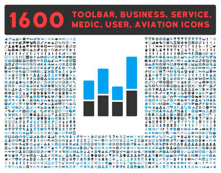 toolbar: Bar Chart raster icon and 1600 other business, service tools, medical care, software toolbar, web interface pictograms. Style is bicolor flat symbols, blue and gray colors, rounded angles, white background.