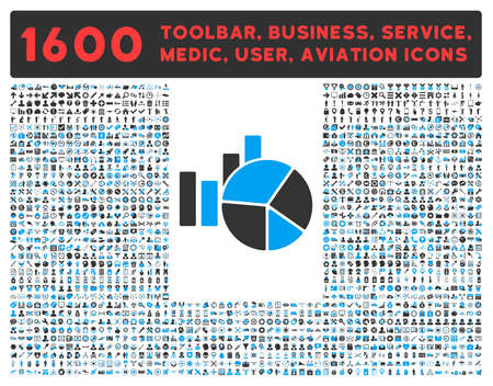 health care analytics: Charts raster icon and 1600 other business, service tools, medical care, software toolbar, web interface pictograms. Style is bicolor flat symbols, blue and gray colors, rounded angles, white background.