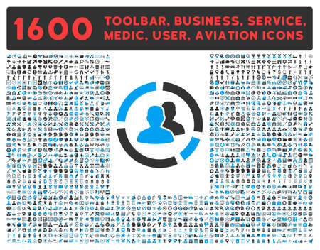 healthcare visitor: Demography Diagram raster icon and 1600 other business, service tools, medical care, software toolbar, web interface pictograms. Style is bicolor flat symbols, blue and gray colors, rounded angles, white background.
