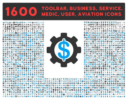 toolbar: Development raster icon and 1600 other business, service tools, medical care, software toolbar, web interface pictograms. Style is bicolor flat symbols, blue and gray colors, rounded angles, white background. Stock Photo