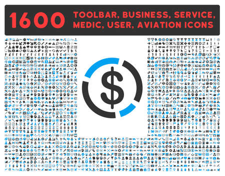 toolbar: Dollar Diagram raster icon and 1600 other business, service tools, medical care, software toolbar, web interface pictograms. Style is bicolor flat symbols, blue and gray colors, rounded angles, white background.